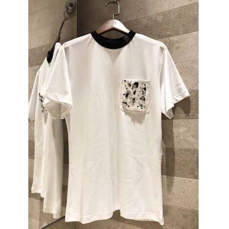 Brust tasche spiegel perlen weiß kurzen ärmeln T shirt 2019 hochwertige frauen alte blumen leder schnalle baumwolle T shirt top-in T-Shirts aus Damenbekleidung bei  Gruppe 1