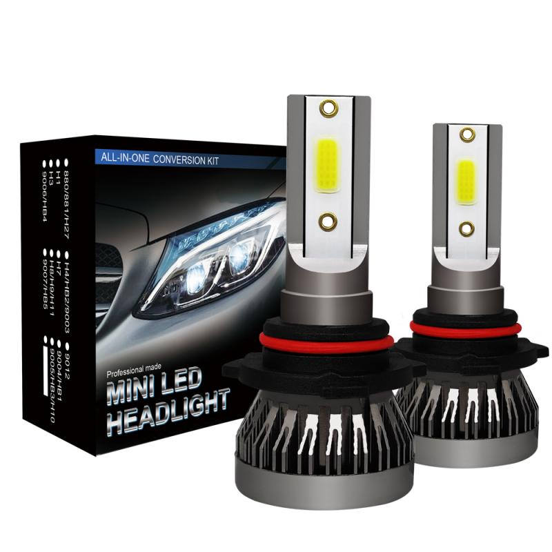 2 Pcs H1 H4 H7 H11 9005 9006 LED Headlight 6063 Aluminum Profile Conversion Kit COB Bulb 90W 12000LM White High Power 6000K
