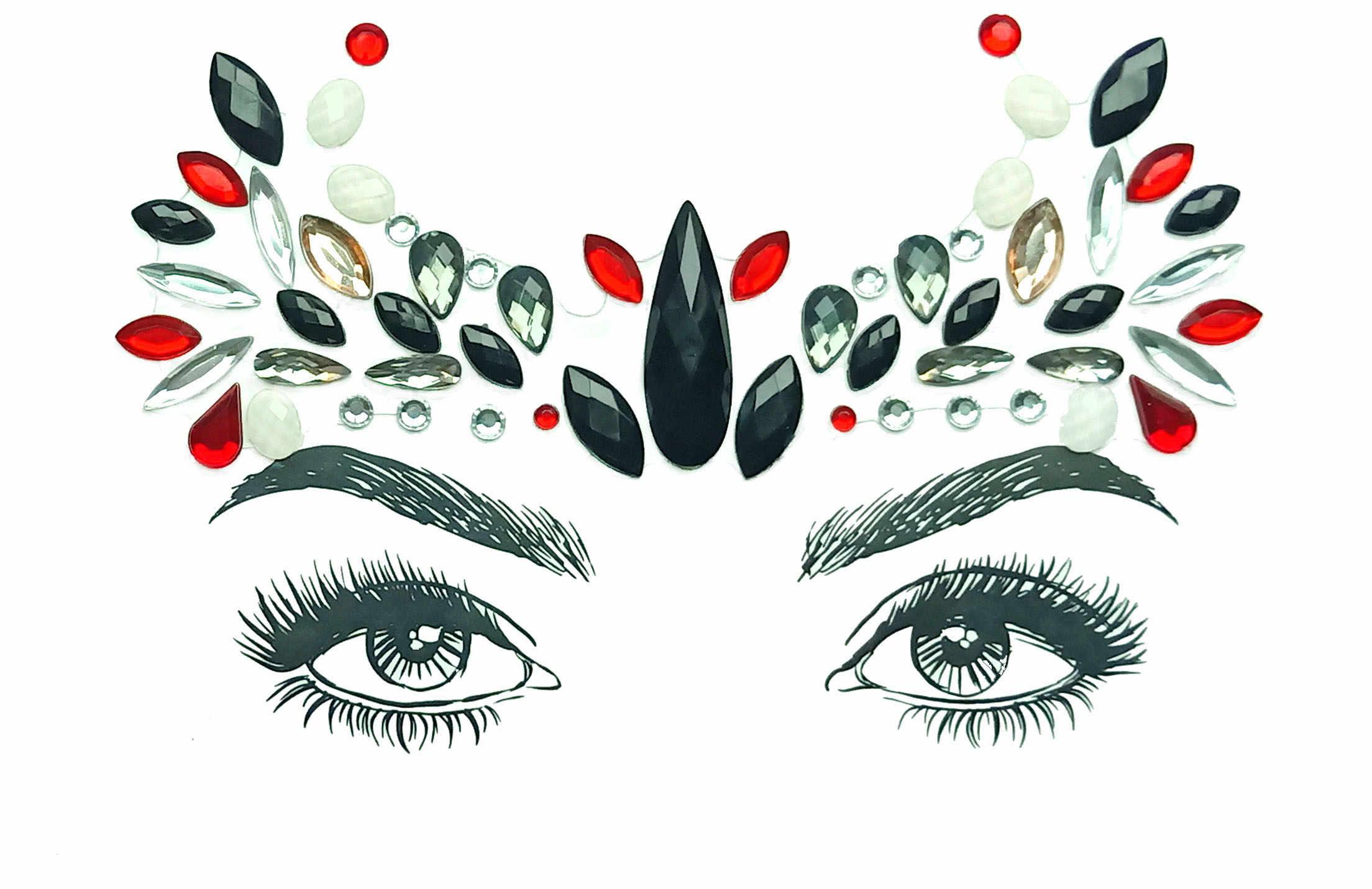 防水一時的なタトゥーステッカー顔宝石音楽祭パーティーメイクツールキラキラ顔クリスタルタトゥースティック女性のための