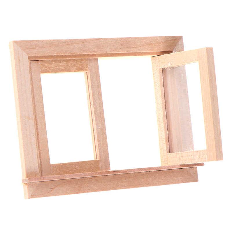 1/12 دمية مصغرة الخشب 2 جزء اطار النافذة لتقوم بها بنفسك الأثاث بيت الدمية اكسسوارات 1:12 مقياس الاطفال ألعاب أطفال