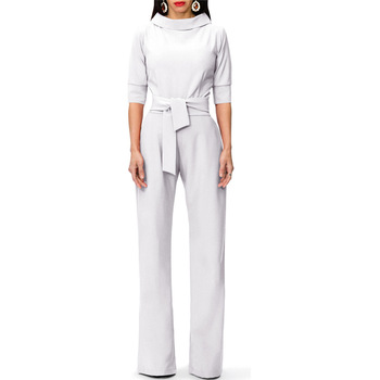 New Half Sleeve Rompers Jumpsuit Women Office Lady Elegant Overalls for Women Lace Up Fashion Wide Leg Pants Jumpsuits YT50211 european and american fashion elegant chiffon jumpsuits piece pants 2018 summer rompers office lady womens jumpsuit