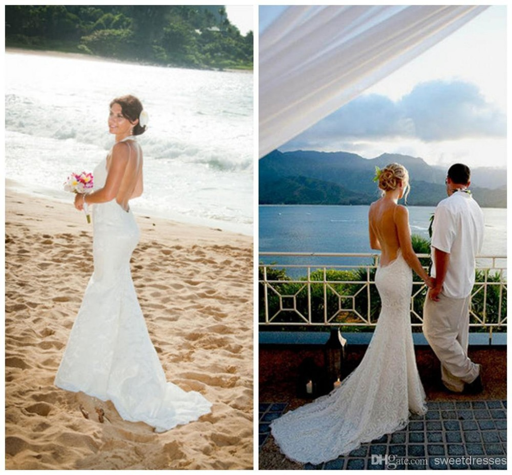 2015 Lace Mermaid Gowns Perfect Bridal Gowns Spaghetti Straps Backless Mermaid Lace Appliqued Lace Wedding Dresses