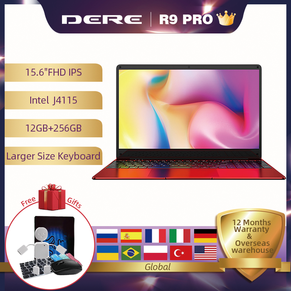 Dere R9 PRO 15.6 inch Laptop 12GB RAM 256GB ROM SSD Notebook Wndows 10 pro Laptop Intel Gemini lake J4115 Computer PC Portable-0