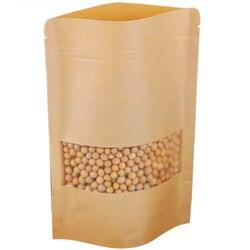 100 sztuk Zipper torebka z papieru pakowego torebka z papieru pakowego prezent Zipper zamknięcie torba z okienkiem stojąca torba 17x24Cm