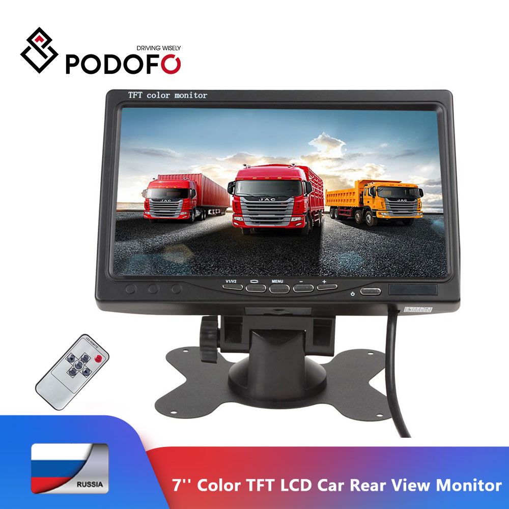 Podofo <font><b>7</b></font>'' Color TFT LCD <font><b>Monitor</b></font> Car Rear View <font><b>Monitor</b></font> Rearview Display Screen for Vehicle Backup Camera Parking Assist System image