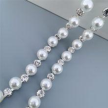 1 pés strass cristal corrente bling diamante laço guarnição fita colar applique gem brilho vestido de casamento 0.39