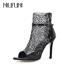 NIUFUNI 2020 Summer Women Sandals Boots Sexy Mesh Hollow Peep Toe Gladi