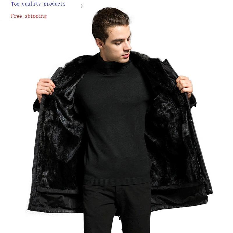 Parka Men Real Fur Coat Natural Minks Fur Liner Warm Winter Jacket Mens Mink Coat Luxury Jackets Parkas 18P615-1 KJ3113