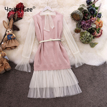 Young Gee Women Flare Long Sleeve Elegant Mesh Dress + Knitted Sweater Pearls Vest Office Lady Fashion Dresses Two Piece Sets