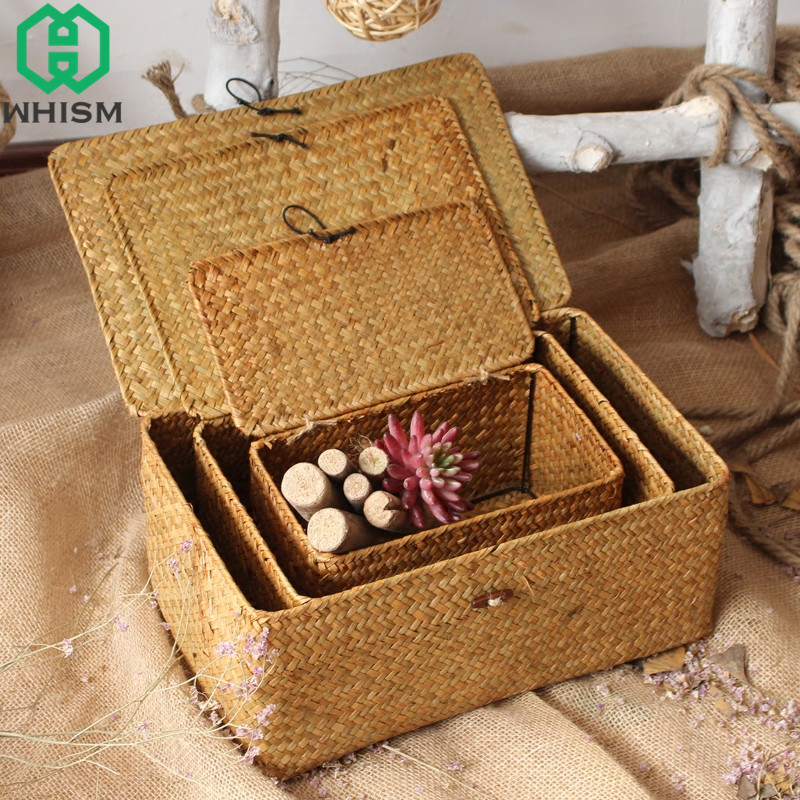 WHISM Handmade Woven Storage Box with Lid Rattan Storage Basket Jewelry Box Food Container Makeup Organizer
