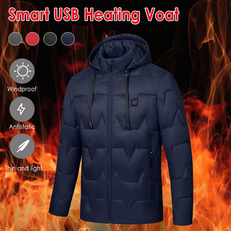 Mens Women Heated Coat USB Electric Battery Long Sleeves Heating Hooded Jacket Warm Thermal Clothing Skiing