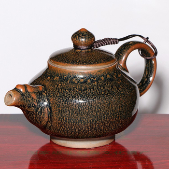 JZ137 250ml Clay Kettle Yuteki Tenmoku Porcelain Teapot Historical Technology Burned Practical Bottle Tea Pot Gift Box /JIANZHAN