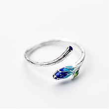 Vintage Silver Gradient Enamel Leaf Bud Ring for Women