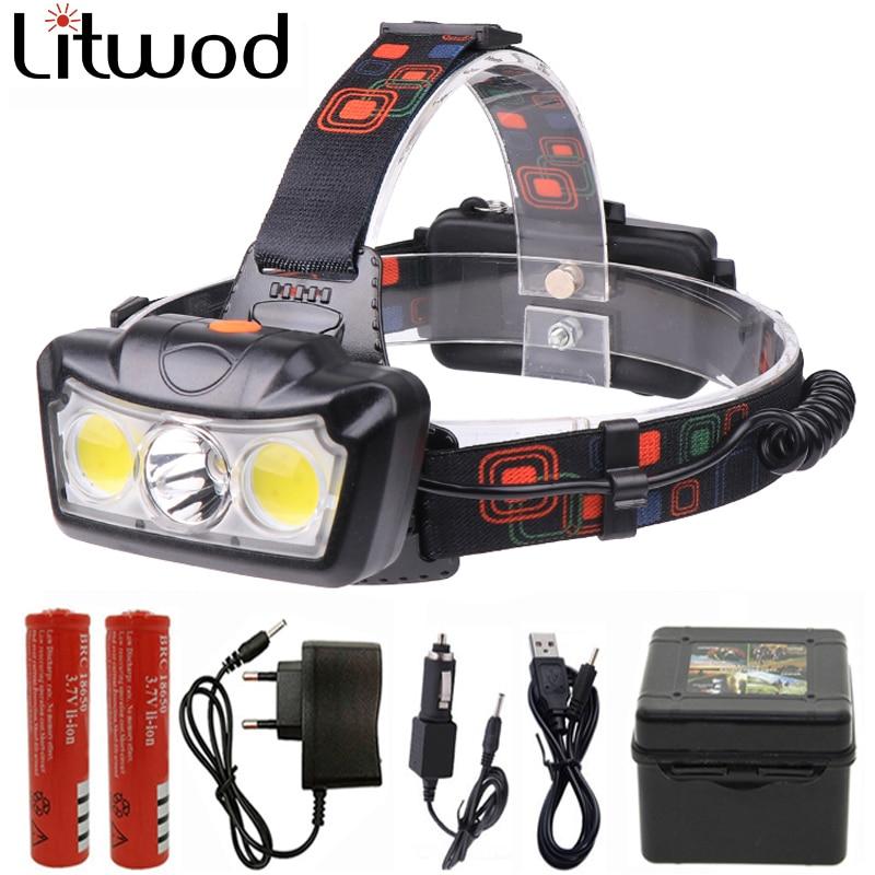 Süper parlak LED far T6 + 2COB LED far kafa lambası su geçirmez Torch Lanterna kafa ışık kullanımı 2*18650 pil kamp için