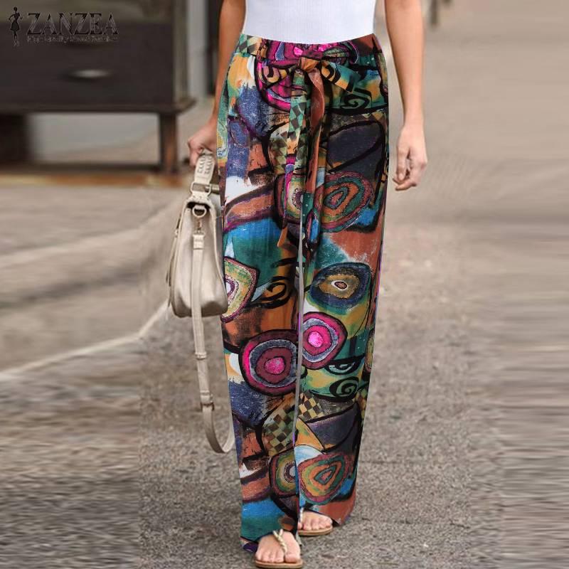 ZANZEA Autumn Pants Drawstring Pantalon Palazzo Fashion Women's Printed Trousers Female Elastic Waist Casual Turnip Plus Size