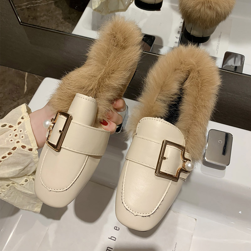 New 2020 New Flat shoes woman Buckle Slip on Fur Leather shoes ladies Non slip Soft loafers women Moccasins Pearl Fashion
