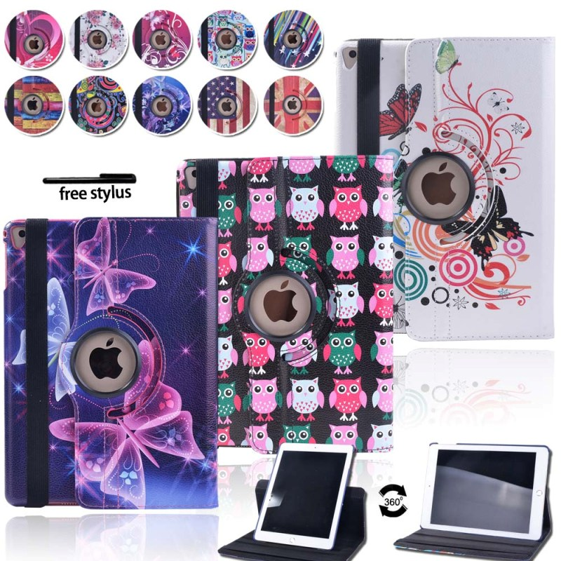 KK&LL For iPad Air 1 Air 2 Pro 9.7 - Multicolor Smart Tablet cover Rotating 360° with Auto Wake Up Sleep Flip Leather Stand Case image