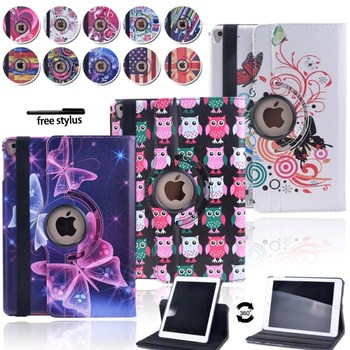 цена на KK&LL For iPad Air 1 Air 2 Pro 9.7 - Multicolor Smart Tablet cover Rotating 360° with Auto Wake Up Sleep Flip Leather Stand Case