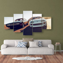 Canvas Painting HD Print 5 Pieces Movie Fast Furious Sports Car Racing Car Pictures Bedside Home Decorative Wall Art Posters(China)