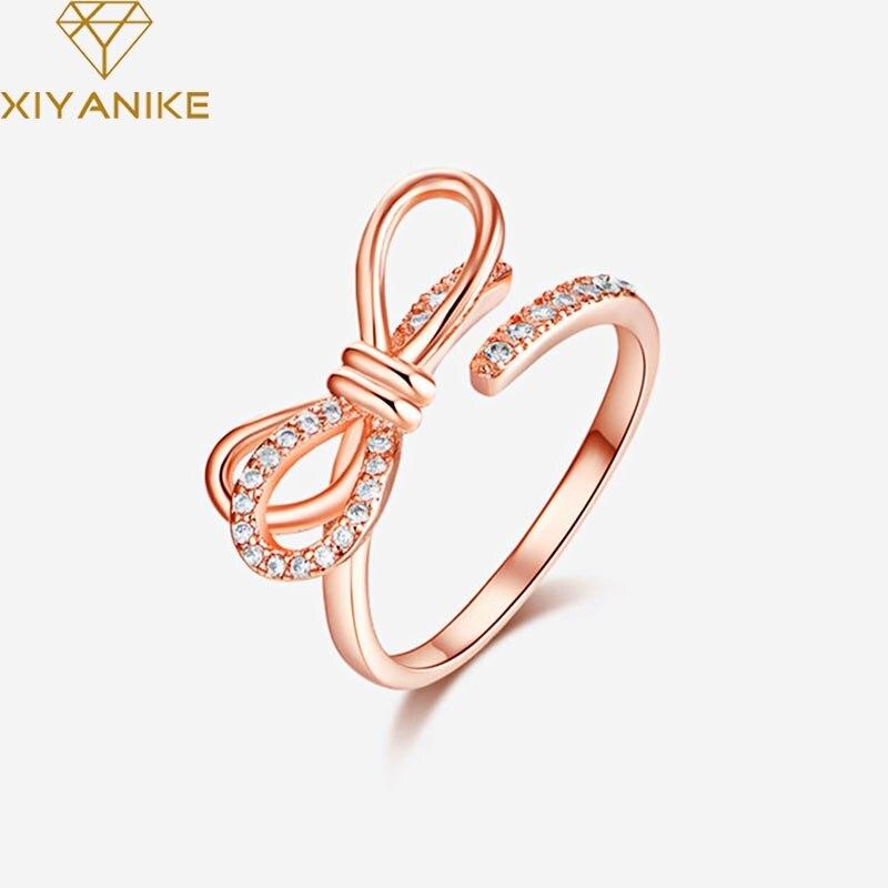XIYANIKE 925 de plata esterlina coreano estilo Simple Bowknot anillos de apertura para las mujeres ama de moda elegante joyería de cristal para boda 2020 vestido de noche sexy de satén de seda para mujer, camisón de manga corta, ropa de dormir de encaje, ropa de noche de encaje para mujer
