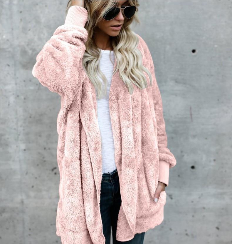 2019 New Women's Autumn&winter Warm  Hooded Open Stitch Hoodie Faux Fur Coat Lady Plus Size S-5XL Long Sleeve Fur Jacket Female