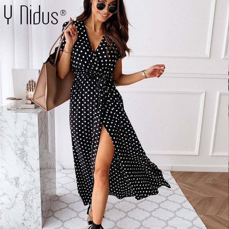 Women Summer Maxi Dress 2021 Dot Print Sexy Deep V-Neck Sundress Tunic Tie Split vestido Flowy Evening Party Long Shirt Dresses