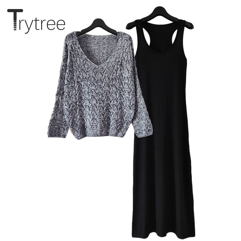 Trytree Summer Autumn Women Two Piece Set Casual Hollow Out Solid V-neck Tops + Sling Dresses Ankle-length Suit Set 2 Piece Set