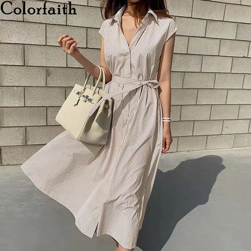 Colorfaith New 2020 Women Summer Shirt Dress 3 Colors Casual Sleeveless Striped Loose Lace Up Cotton And Linen Long Dress DR6970