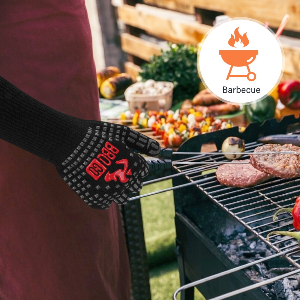 Inkbird High Quality 1472℉ Extreme Heat Resistant Grilling Gloves Aramid fabric Non-Slip Silicone Insulated Grill Mitts Baking