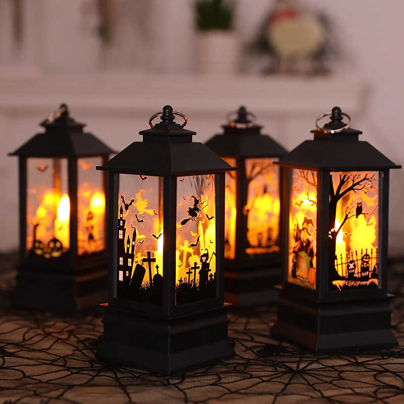 2019 Halloween Vintage Pumpkin Castle Light Lamp Party Hanging Decor LED Lantern Party Supplies Hanging Lantern