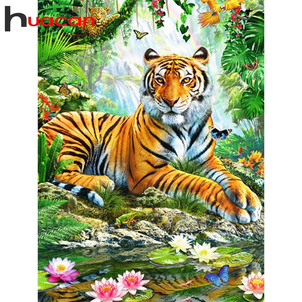 Huacan 5D DIY יהלומי ציור נמר מלא כיכר/עגול צבע עם יהלומים רקמת בעלי החיים קישוטי בית אמנות