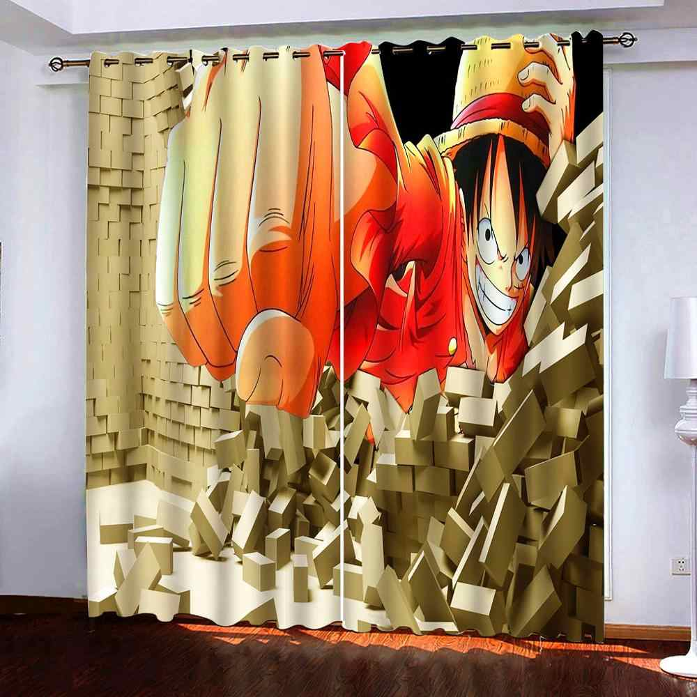one piece fashion anime customized door curtain decoration home cartoon half curtains bedroom kitchen new