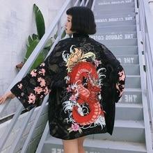 Печать Традиционной Женщины Кимоно Пляж Рубашка Japannese Кимоно Кардиган Новинка Японский Кимоно Хаори Оби Повседневная Женская Одежда