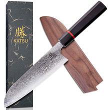 KATSU 7 inch Chef Knives Sharp Kitchen Santoku Knife Damascus Steel Japanese Kitchen Knives With Octagonal Ebony Wood Handle