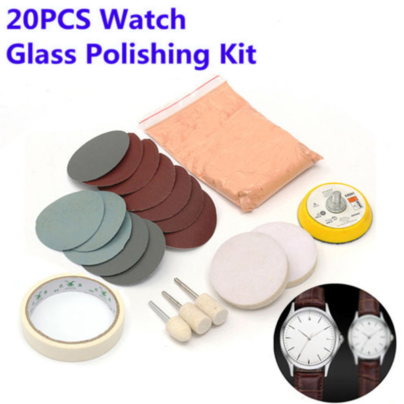 New 20Pcs/Set Watch Glass Polishing Kit Glass Cleaning Scratch Removal Polishing Pad And Wheel 50mm Backing