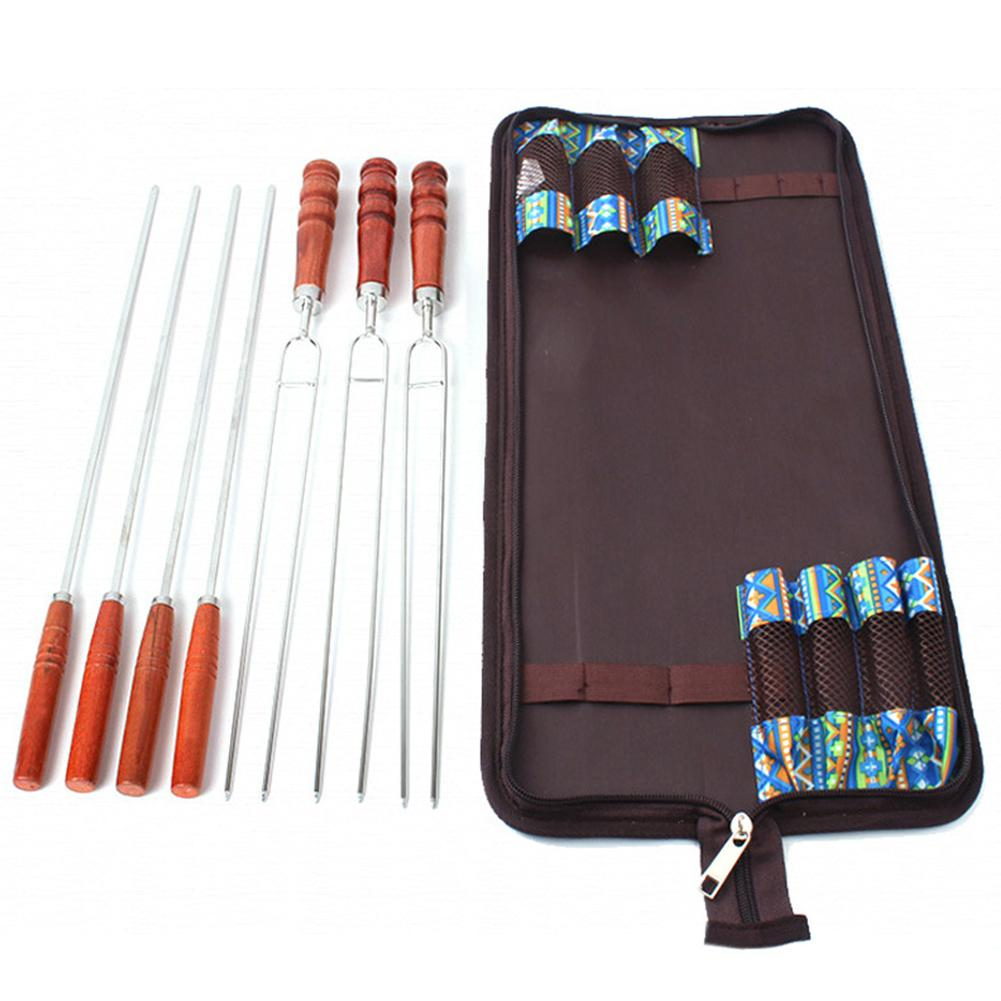 DishyKooker Outdoor Toast Needle Barbecue Fork Stainless Steel U-shape Enviromental Friendly Wood Handle Picnic 7 Piece Set