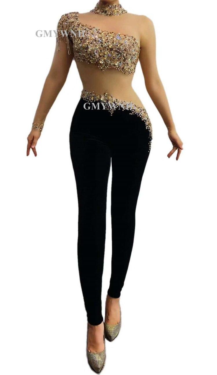 R62 Sexy female pole dance mesh bodysuit stage costumes women rhinestones jumpsuit black pants party wear outfit disco show club