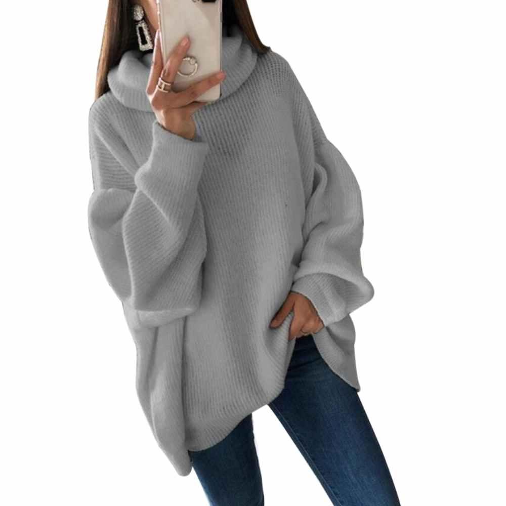 Oeak 2019 Mode Plus Größe 2XL Gestrickte Pullover Und Pullover Frauen Lose Rollkragen Lange Sweter Femme Strickwaren Jumper Tops