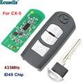 Смарт-карта с 3 кнопками  дистанционный ключ  Fob 434 МГц  чип ID49 для Mazda  CX-5 с лезвием для экстренных ключей