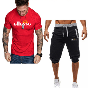Image 3 - Summer Two Pieces Sets Mens Casual Tracksuit Brand Men Print Sportswear T Shirts Sets mens t shirt+shorts Fitness Gym Suits