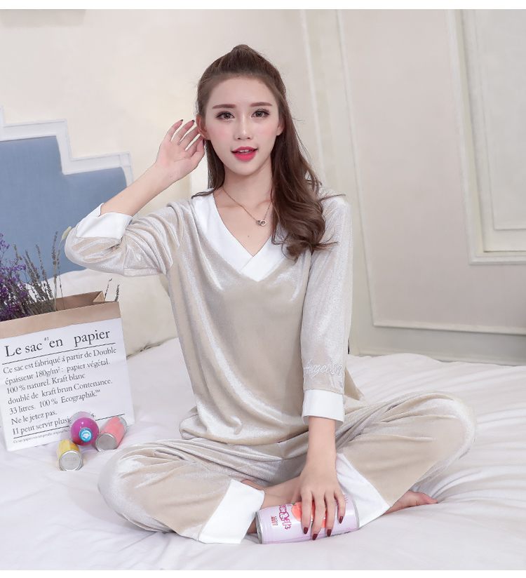 Girls Gold Velvet Pajamas Sets Women Autumn Winter Long Sleeve V-Neck Velour Pyjama Suit Warm Sleepwear Homewear Home Clothes 88