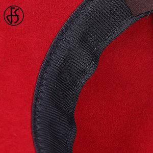 Image 5 - FS Vintage Đỏ Giáo Hội Nón Nữ Thanh Lịch Len Mùa Đông Rộng Vành Fedoras Nữ Xanh Đen Fedora Hoa Nơ Cảm Thấy Cloche nón