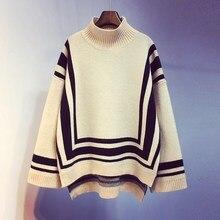 Mooirue Autumn Winter Striped Vintage Sweater For Women Turtleneck Loose Casual Streetwear Harajuku Pullovers Korean Style Tops