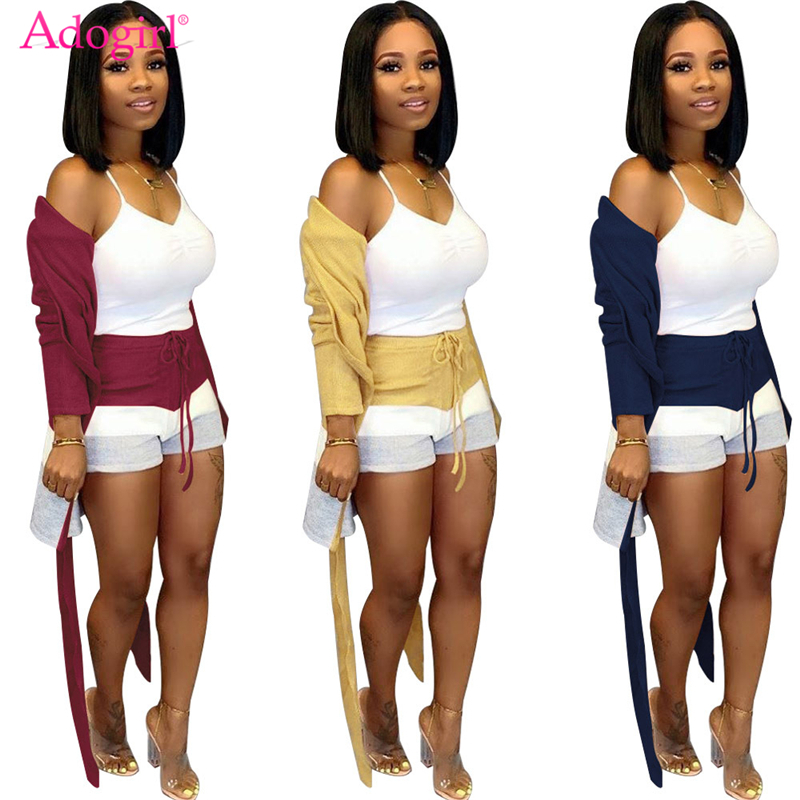 Adogirl Stripe Color Block Cashmere Two Piece Set S-3XL Long Sleeve Cardigan Coat With Sashes + Shorts Women Autumn Winter Suits