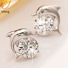Zircon Earrings Dolphin Jewelry-Plated Brinco High-Quality Cute Love Women for Bijoux
