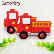 5/10/20/50 pçs bpa livre silicone mordedor caminhões de combate a incêndios mordedor contas diy bebê dentição colar brinquedo