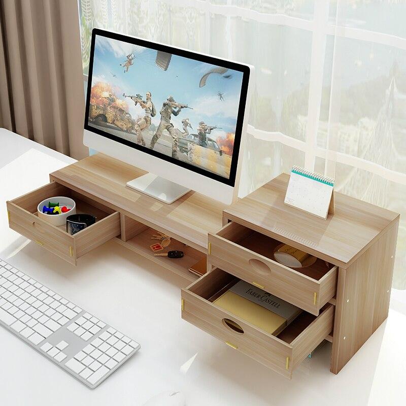 Organiseur de bureau support ordinateur moniteur rehausseur Rack en bois MDF fournitures de bureau tiroir stockage ordinateur portable étagère pour la vie à la maison