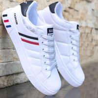 Primavera outono branco sapatos masculinos sapatos casuais tênis de moda rua legal homem sapatos planos calçados zapatos de hombre