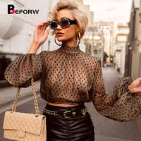 BEFORW 2019 Sexy femmes Perspective maille chemise Blouse chemise vêtements à pois à manches longues Blouses haut court gothique dessus de chemise