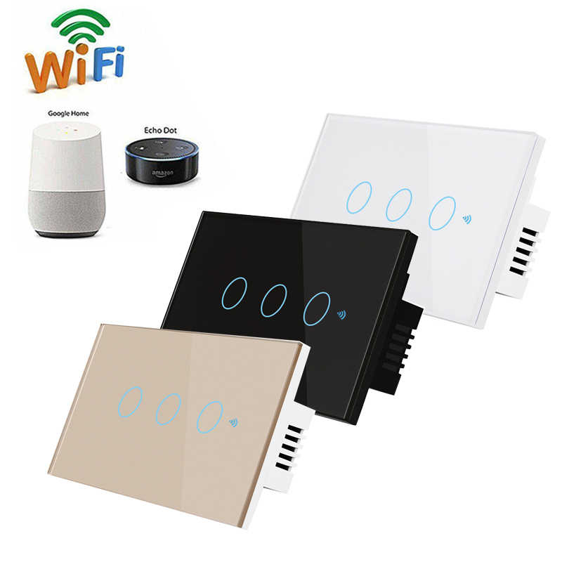 Smart Switch 1-3Gang US Standard WiFi & RF 120 Type Smart Wall Touch Light Switch Smart Home Automation Module Remote Control